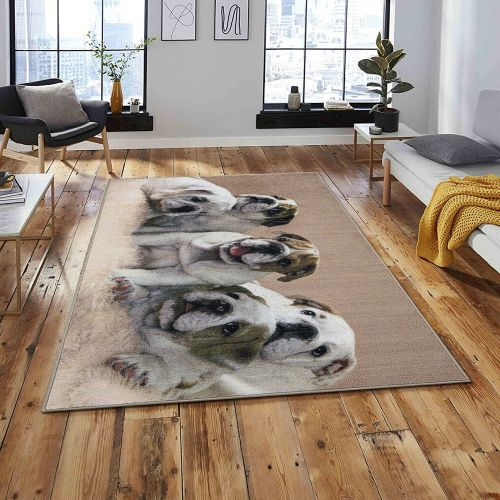 3D Washable Dog Printed Living Room Rugs Beige Colours -120x172 cm
