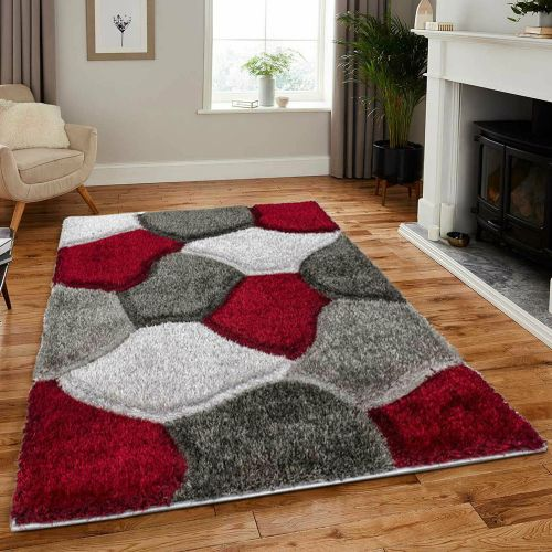 Modern Shaggy Soft Pile Living Room Rugs  Red Colour - 80 x 150 cm