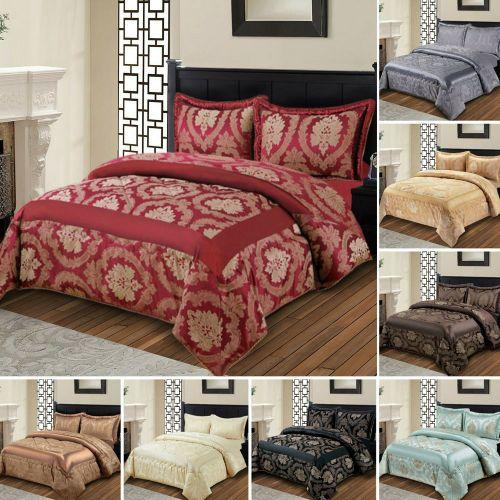 3 Pcs Quilted Bedspread Duvet Set Various Colours - 3 Sizes