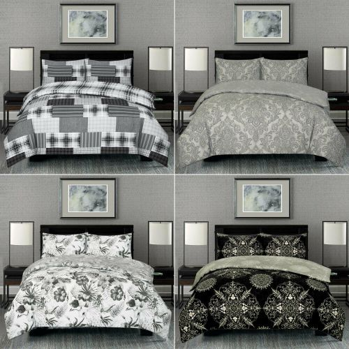 3 Pcs Duvet Quilt Cover With 2 Pillow Black Grey Printed