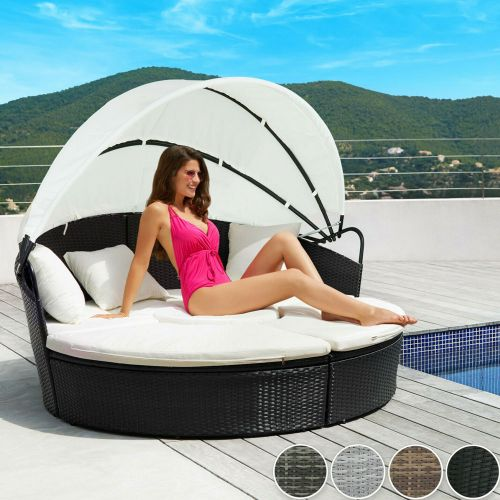Rattan Garden Day Bed With Sunshade - 4 Colours