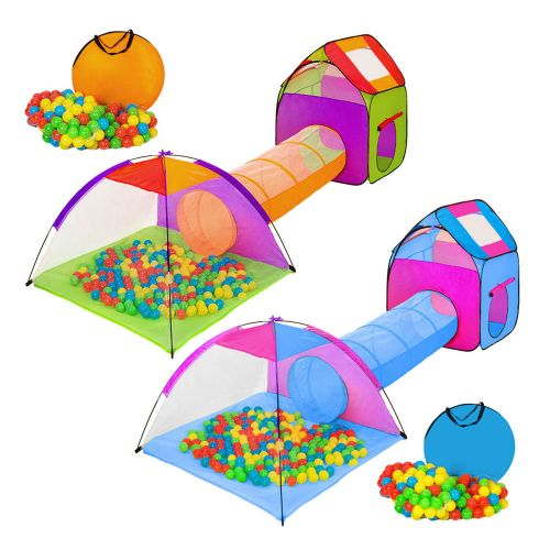 Childrens Tent and Tunnel Bag Pit With 200 Balls - Various Colours