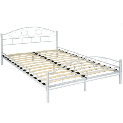 Modern Double Metal Bed Frame White Colour - Standard Size 140x200