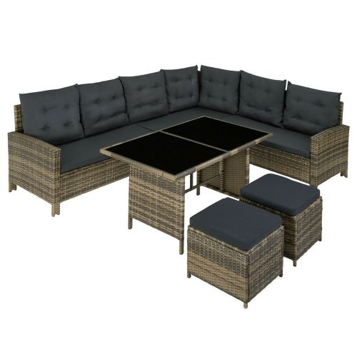Poly Rattan Garden Sofa Table Set with Stool and Cushions - Natural Colour