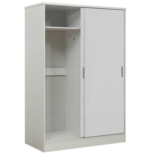 Reflect Sliding Wardrobe 2 Door High Gloss White - Matt White