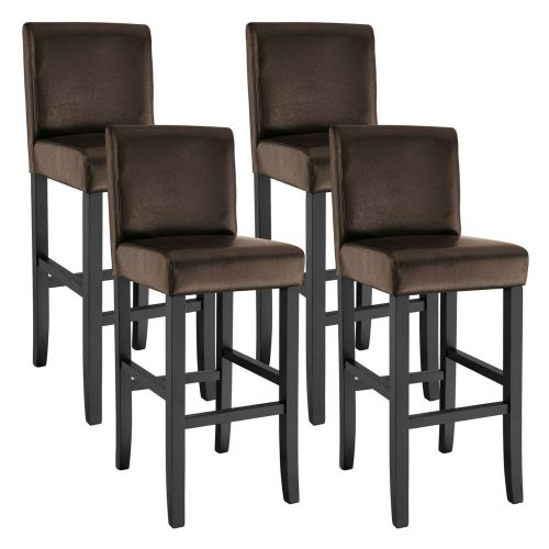 Artificial Leather Bar Stools Brown Colour 111cm  - Set of 4