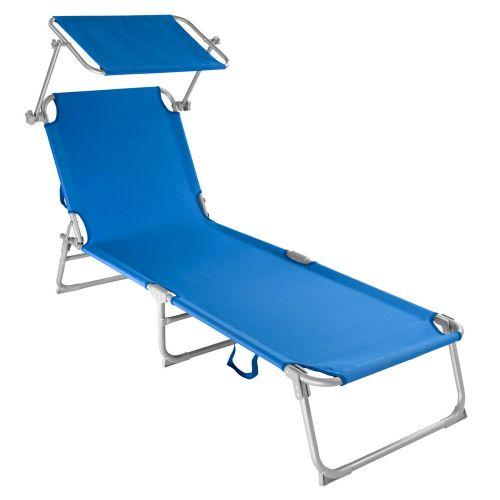 Modern Foldable Sun Lounger with Sun Visor Blue Colour - 1 to 4 Pieces