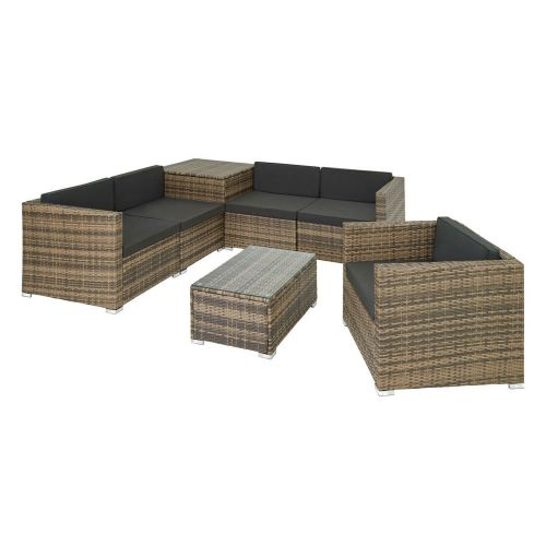 Elegant Garden Rattan Lounge Sofa Set WIth Cushions and Storage Box - Natural Colour