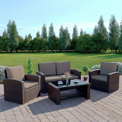 Garden Rattan Armchair Sofa 4 Seat Table With Cushions - 6 Colours