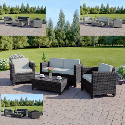 Weave Rattan Garden Chair Set With Table - 3 Colours