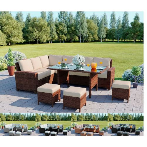Elegant Rattan Corner Garden Sofa Set With Table and Cushions - 5 Colours
