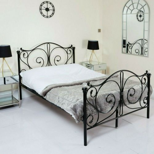 Metal Bed Frame French Style 3 Colours - 3 Sizes