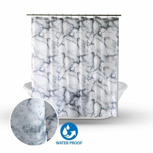 Shower Curtain Vinyl Fabric Waterproof Grey Marbled - 180x180