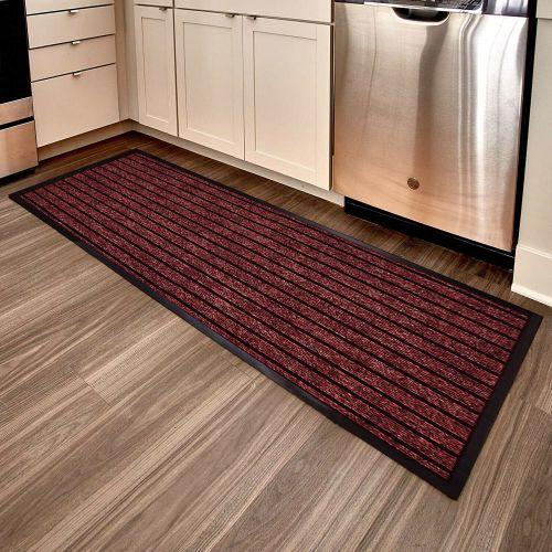 Heavy Duty PVC Edges Rubber Doormat Red Colour- 60 x 180 cm