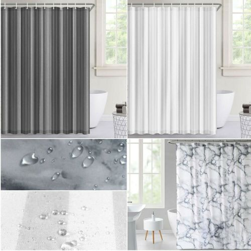Shower Curtain Waterproof Fabric With Hook Ring 3 Colours - 2 Sizes