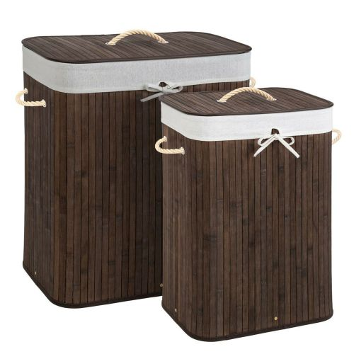 Foldable Bamboo Laundry Basket Bag Brown Colour -2 Sizes