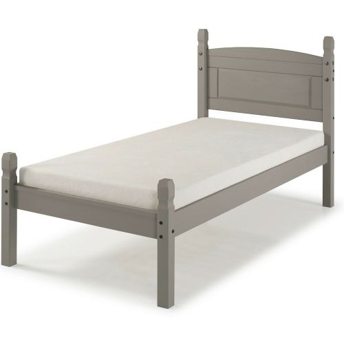 Corona Solid Pine Bed Frame Single 3FT Low End - Grey Wax