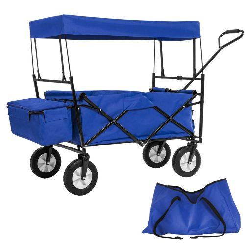 Garden Trolley Foldable Roof With Carry Bag - Blue Colour