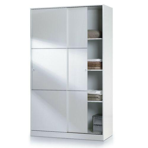 Melamine 2 Door Sliding Wardrobe Tall - White