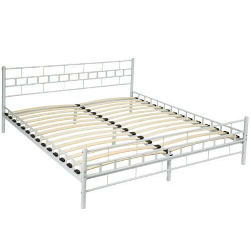Metal Bed Frame With Slatted Base White Colour - Super Kingsize