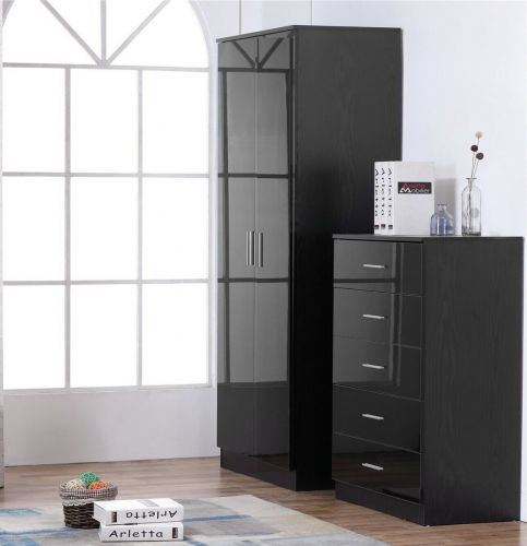 High Gloss Wardrobe 2 Door and 5 Drawer Chest - 5 Various Colours