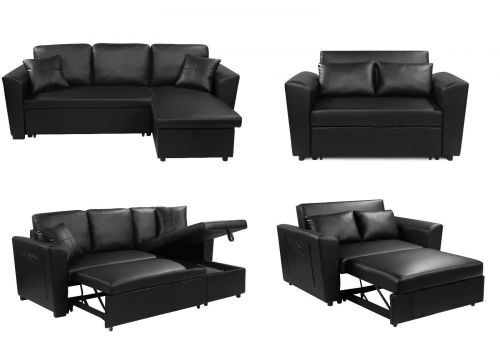 Sofabed 2 or 3 Seater Full Black PU Pull Out and Storage Options