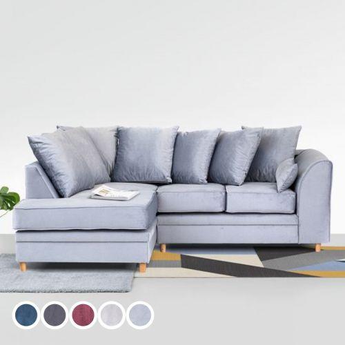 Chicago Velvet Corner Sofa - Silver Blue