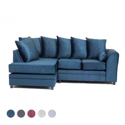 Chicago Velvet Corner Sofa - Dark Blue