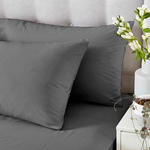 Silentnight Pure Cotton Pillowcase Pair - Charcoal Dark Grey