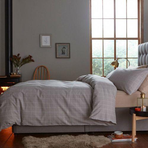 Silentnight Brushed Check Duvet Pillowcase Cover Set - 4 Sizes