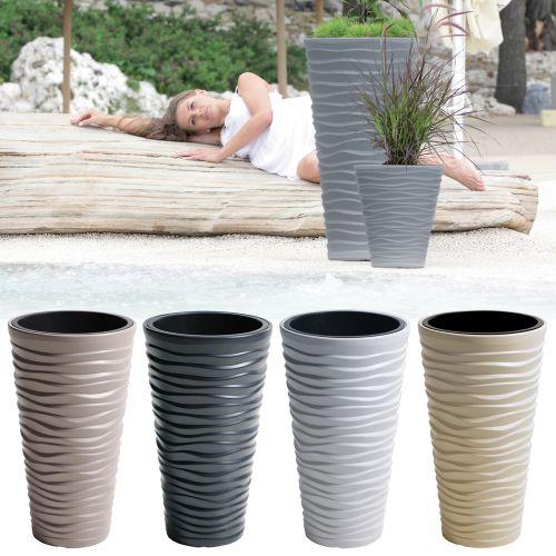 Stylish Flower Tall Sand Plant Pot Various Colours - 2 Set