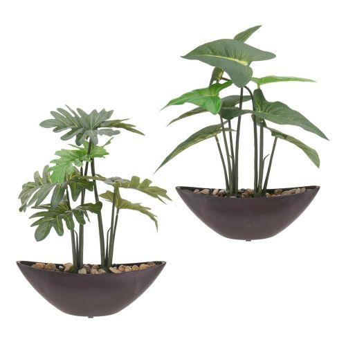 Decorative Artificial Green Plants Boat Pot - 2 Types