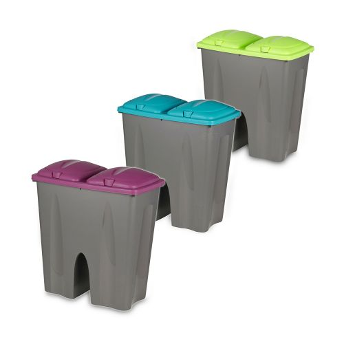Plastic Double Sided Recycling Waste Bin - 4 Colours
