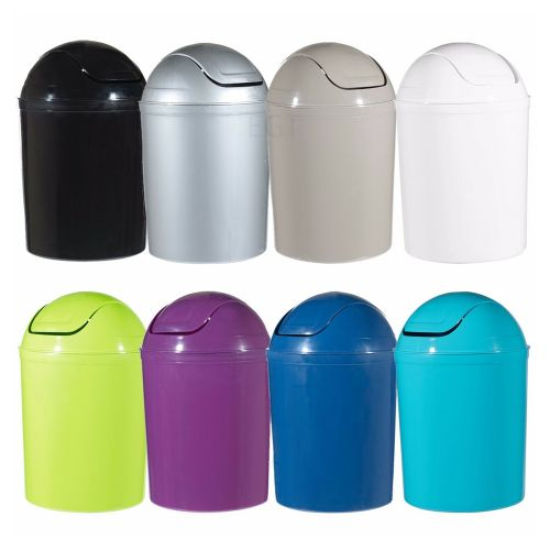 Swing Lid Plastic 5L Waste Bin - 8 Colours