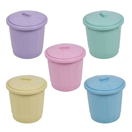 5L Spinning Lock Lid Plastic Jolly Dustbin - 5 Colours