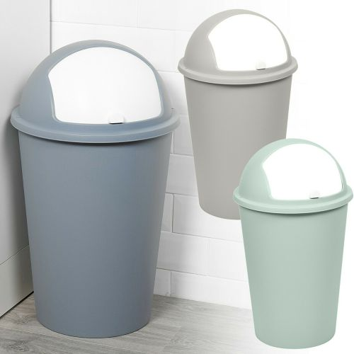 50L Roller Bullet Top Lid Plastic Waste Bin - 3 Colours
