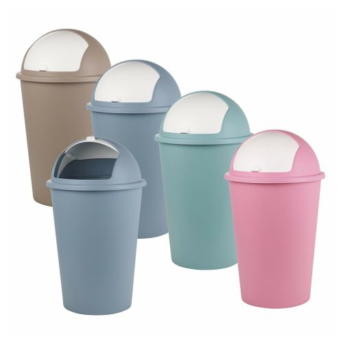 50L Roller Top Plastic Lid Dustbin - 5 Colours