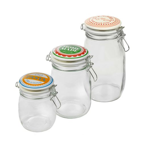 Retro Metal Lid Airtight Glass Jar Food Container - 3 Size
