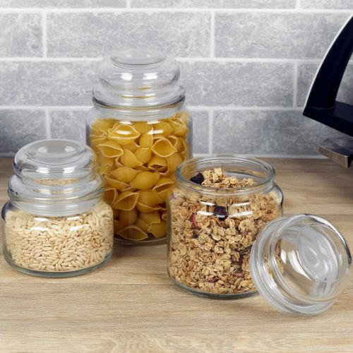 Retro Clear Glass Airtight Lid Food Container - 3 Sizes