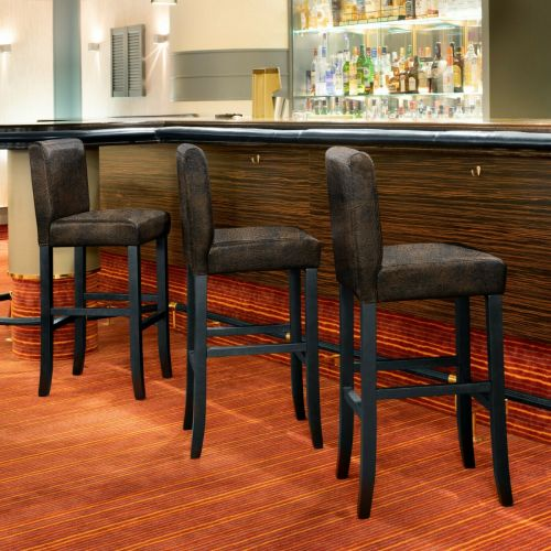 Artificial Leather Bar Stools Antique Brown Set of 4x