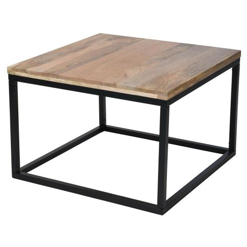 Wooden Metal Frame Square Coffee Table