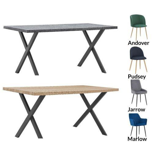 Wooden Dining Table Velvet Chairs 4 or 6 Set  Oak - Concrete