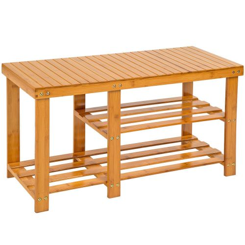 Shoe Storage Rack With Bench Bamboo - 4 Sizes