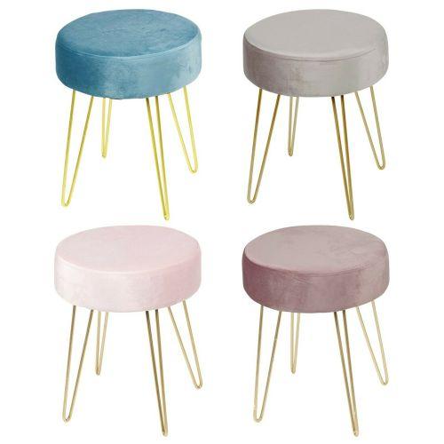 Cushioned Velvet stool - 4 Colours