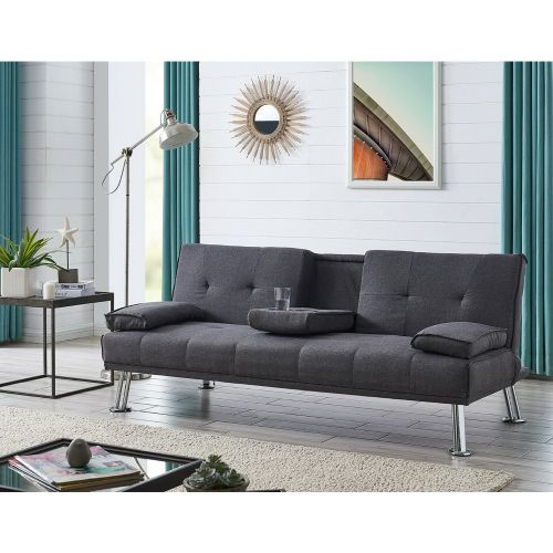 Modern Cupholder Sofa Bed - Charcoal