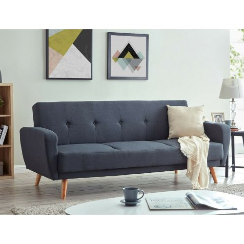 Sofa Bed 3 seater With Stylish Wooden Legs - Charcoal Fabric