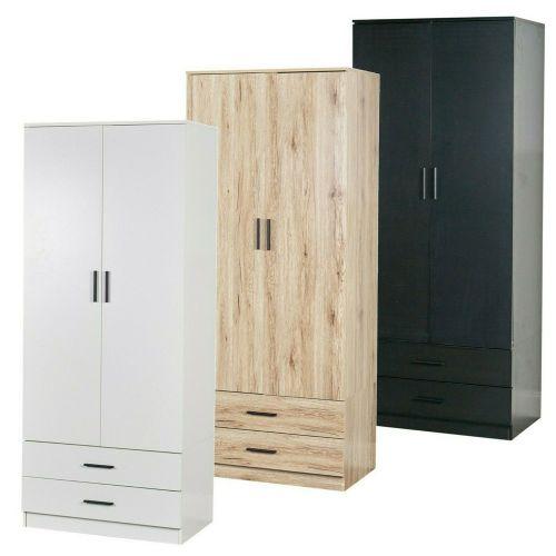 Elegant Wooden Tall 2 Door Wardrobe 2 Drawer - Various Colours