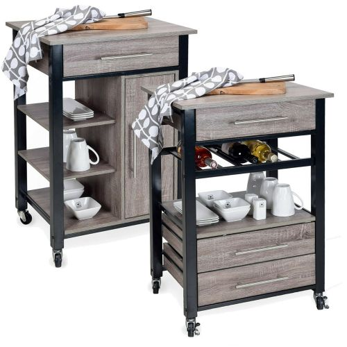 Modern Wooden Metal Serving Trolley - 2 Sizes