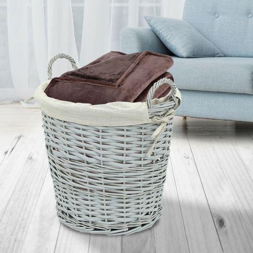 Elegant Wicker Laundry Basket - Grey