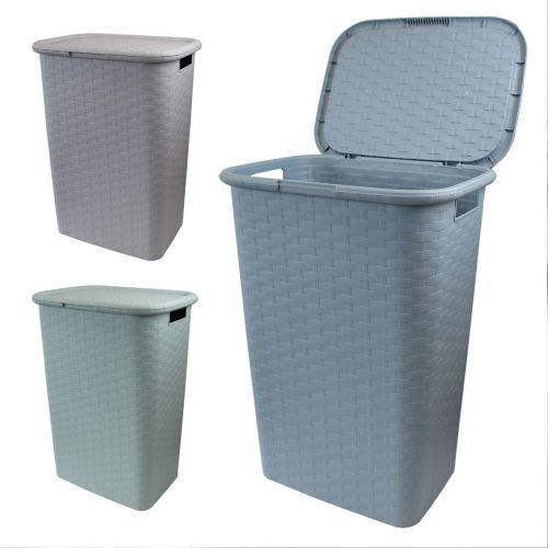Rattan Plastic 60L Laundry Basket - 3 Colours